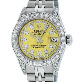 Rolex Ladies Stainless Steel 26MM Yellow String Diamond