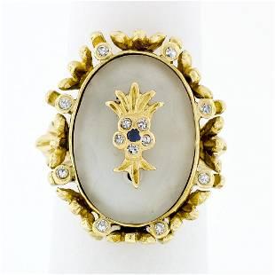 Vintage 18k Gold Oval Cut Frosted Quartz Rock Crystal