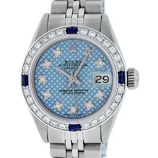 Rolex Ladies Stainless Steel Blue Stamp Diamond & Ruby