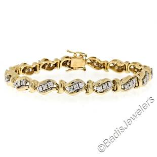 14kt Yellow and White Gold 1.80 ctw Diamond Wavy Link