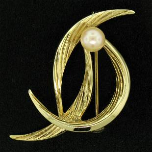 14k Solid Yellow Gold German 5.9mm Round Cultured Pearl
