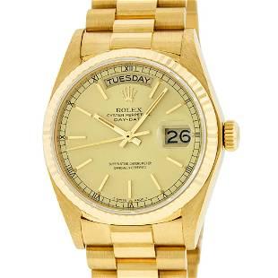 Rolex Mens 18K Yellow Gold Champagne Index Quickset