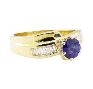 1.32 ctw Blue Sapphire and Diamond Ring - 14KT Yellow