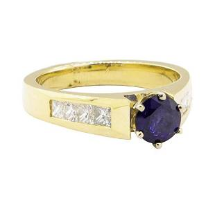 1.60 ctw Blue Sapphire and Diamond Ring - 14KT Yellow
