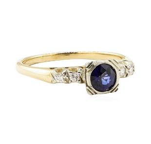 0.67 ctw Blue Sapphire and Diamond Vintage Ring - 14KT