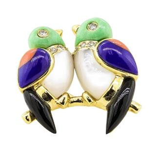 0.12 ctw Diamond and Multi-Colored Gemstone Lovebird