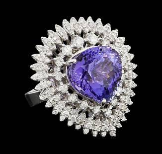 10.46 ctw Tanzanite and Diamond Ring - 14KT White Gold