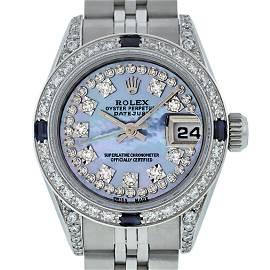 Rolex Ladies Stainless Steel Quickset Blue MOP Diamond