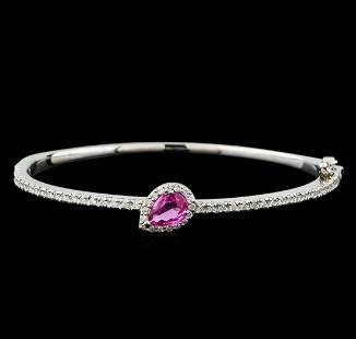 1.08 ctw Pink Sapphire and Diamond Bracelet - 14KT