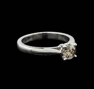 14KT White Gold 0.70 ctw Round Cut Fancy Brown Diamond