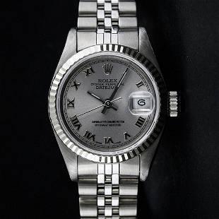 Rolex Ladies Stainless Steel Slate Grey Roman 26MM