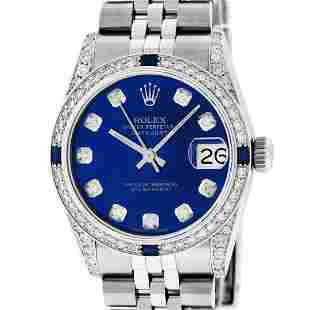 Rolex Womens Midsize 31mm Blue Diamond Lugs & Sapphire
