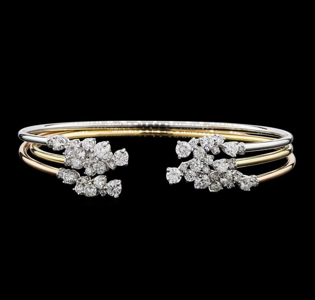 3.34 ctw Diamond Bangle Bracelets - 14KT Yellow, White,