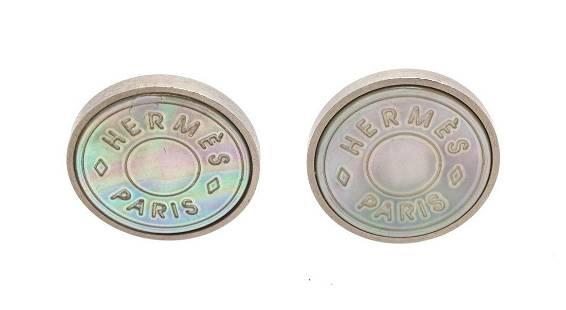 Hermes Silver Mother Of Pearl Earrings
