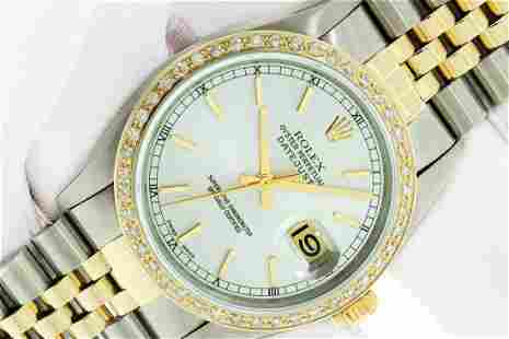 Rolex Mens 2T SS And Yellow Gold Silver Index 36MM
