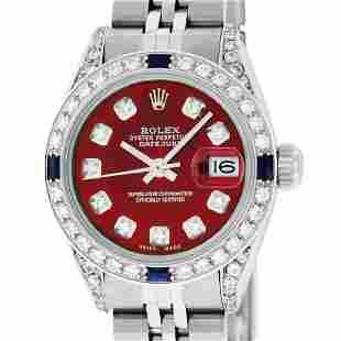 Rolex Ladies Stainless Steel Red Diamond Lugs &