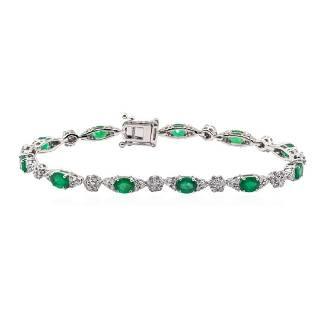 3.58 ctw Emerald and Diamond Bracelet - 14KT White Gold