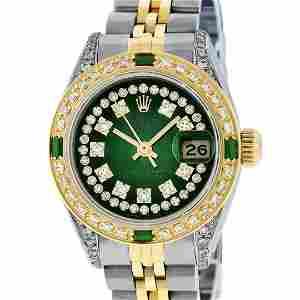 Rolex Ladies 2 Tone Green Vignette Diamond Lugs &