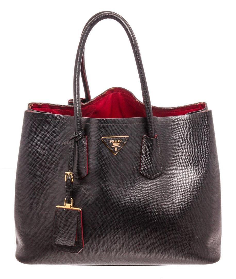 Prada Blue Saffiano Leather Double Handle Tote Bag