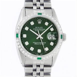 Rolex Mens Stainless Steel Green Vignette Diamond