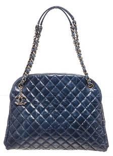 Chanel Blue Leather Mademoiselle Bowling Shoulder Bag