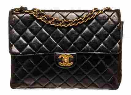 Chanel Black Leather Jumbo Flap Shoulder Bag
