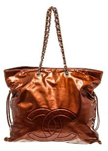 Chanel Brown Leather CC Chain Shoulder Bag