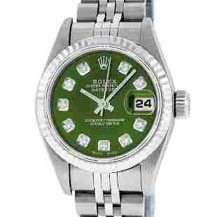 Rolex Ladies Stainless Steel Green Diamond Quickset