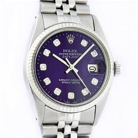 Rolex Mens Stainless Steel Purple Diamond 36MM Datejust