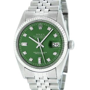 Rolex Mens Stainless Green Diamond 36MM Datejust