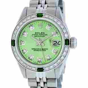 Rolex Ladies Stainless Steel Green Diamond & Emerald