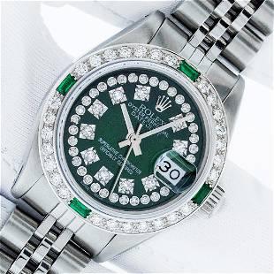 Rolex Ladies Stainless Steel Green Emerald & Diamond
