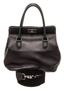Hermes Black Leather Toolbox 26cm Handbag