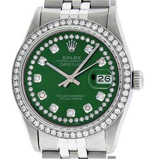 Rolex Mens Stainless Steel Green String Diamond 36MM