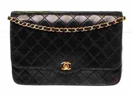 Chanel Black Leather Vintage CC Flap Shoulder Bag
