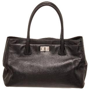Chanel Black Caviar Leather East West Cerf Shoulder Bag