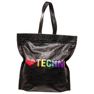 Balenciaga Black Leather Supermarket Shoulder Bag