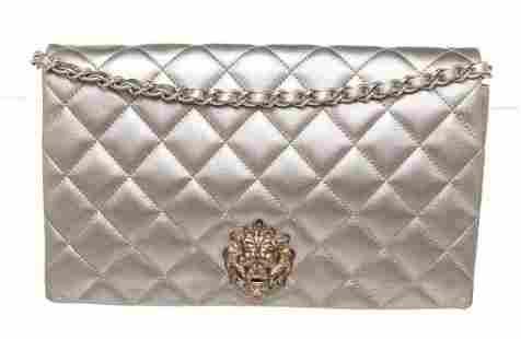 Chanel Silver Metallic Medium Lion Flap Shoulder Bag
