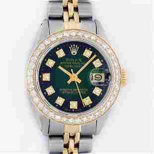 Rolex 2T YG/SS Green Vignette VS 1 ctw Diamond Oyster