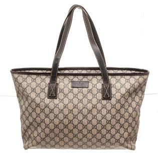 Gucci Brown Canvas GG Supreme Tote Bag