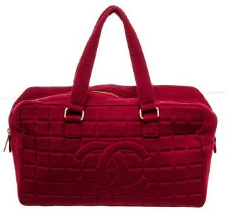Chanel Red Caviar Leather Chocolate Bar Shoulder Bag