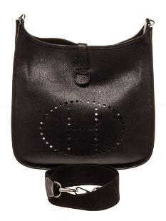 Hermes Black Leather Evelyne 1 GM Shoulder Bag