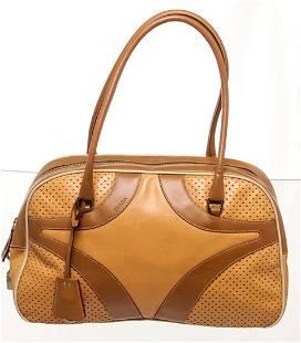 Prada Orange Brown Leather Shoulder Bag