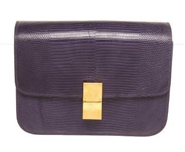 Celine Purple Lizard Skin Leather Medium Box Shoulder