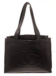 Chanel Black Leather CC Shopper Shoulder Bag