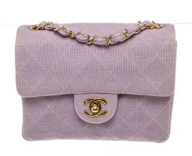 Chanel Purple Leather Mini Flap Shoulder Bag