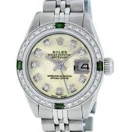 Rolex Ladies Stainless Steel Yellow MOP Diamond &