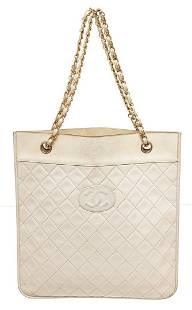 Chanel White Vintage CC Flat Chain Shoulder Bag