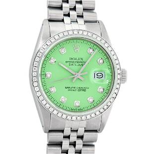 Rolex Mens Stainless Steel Green Diamond 36MM Oyster