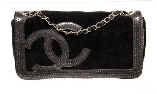 Chanel Black Lambskin Leather CC Chain Flap Shoulder